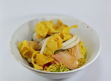 Noodles with fish ball and red sauce Stock Image