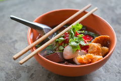 Noodles with fishball and vegetable Stock Images