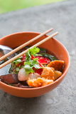 Noodles with fishball and vegetable Stock Photography