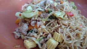 Noodles. FriedNoodles food vegetable shrimp stock photography