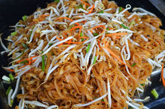 Noodles fry. Delicious with vegetables and bean sprouts Royalty Free Stock Photo