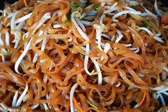 Noodles fry. Delicious with vegetables and bean sprouts Stock Photos