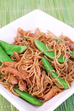 Noodles and green beans Royalty Free Stock Photo
