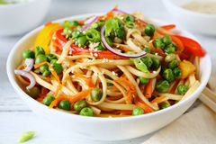 Noodles and green pears Stock Photos