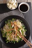 Noodles with grilled chicken Stock Images