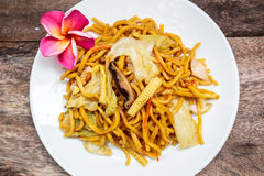 Noodles Japanese Yakisoba, vegetarian food. Royalty Free Stock Photos