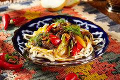 Noodles with Laghman Sauce Royalty Free Stock Images