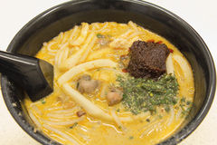 Noodles Laksa κάρρυ της Σιγκαπούρης κινηματογράφηση σε πρώτο πλάνο Στοκ Φωτογραφίες