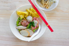 Noodles with meat ball and red sauce or yong tau foo,Thai Noodle Stock Photo
