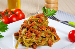 Noodles with meat sauce Stock Images