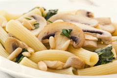 Noodles with mushrooms Stock Photo