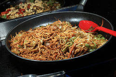 Noodles in pan Royalty Free Stock Images