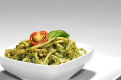 Noodles with pesto royalty free stock image
