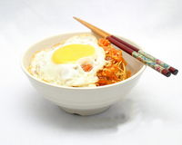 Noodles with poached egg Royalty Free Stock Photos