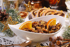 Noodles with poppy seeds and dried fruits for christmas eve supp Stock Images