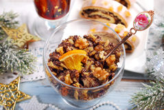 Noodles with poppy seeds and dried fruits for christmas eve supp Stock Image