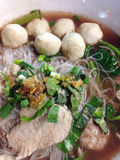 Noodles with pork and meatball, thai food Stock Image