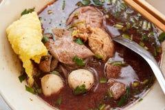 Noodles with pork and pork balls, Kuay Teow Rua. Royalty Free Stock Photo