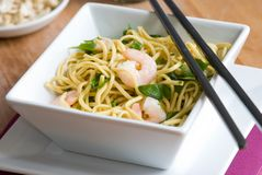 Noodles with prawns Stock Photos
