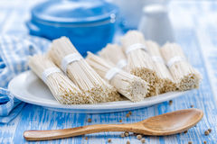 Noodles. Raw noodles on a plate Royalty Free Stock Photography