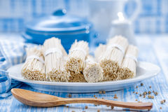 Noodles. Raw noodles on a plate Stock Photography