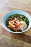 Noodles with red porkl and chicken Stock Image