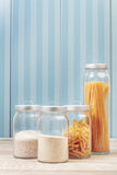 Noodles and rice in jars Royalty Free Stock Image