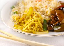 Noodles, rice and stir-fry beef meal stock photos