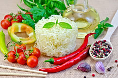 Noodles rice twisted with oil and vegetables Stock Photos