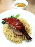 Noodles with roast duck leg Stock Image