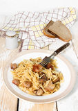 Noodles with roast meat Royalty Free Stock Image