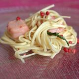 Noodles with salmon royalty free stock photos