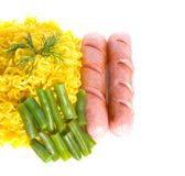 Noodles and sausages Royalty Free Stock Photo