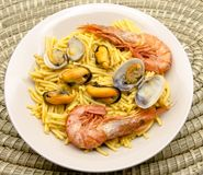 Noodles with seafood Royalty Free Stock Image