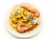 Noodles with seafood stew Royalty Free Stock Image