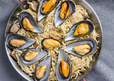 Noodles with seafood stew Stock Image