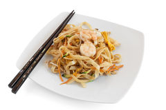 Noodles with seafood and sticks Stock Photos
