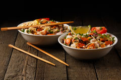 Noodles with seafood Stock Image