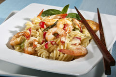 Noodles and shrimps Stock Photography