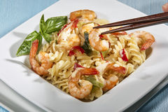 Noodles and shrimps Stock Photo