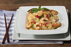 Noodles and shrimps Royalty Free Stock Image