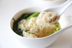 Noodles and shrimps dumplings Chinese food Royalty Free Stock Image