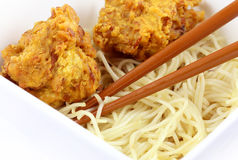 Noodles with snacks in bowl Royalty Free Stock Photography