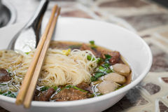 Noodles soup with beef Royalty Free Stock Photos