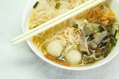 Noodles soup. The noodles soup in bowl Stock Photos