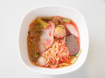 Noodles soup with fish ball. With name Yong Tau Foo stock photos