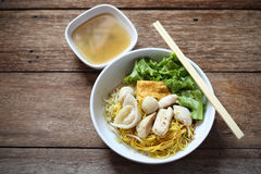 Noodles Soup with Fish Balls on wood Royalty Free Stock Images