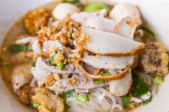 Noodles with soup in Thailand. Thai style noodles with pork and soup Royalty Free Stock Photo