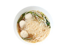 Noodles soup in white bowl. Royalty Free Stock Photo