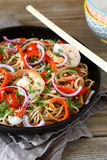 Noodles in spicy a frying pan Royalty Free Stock Photography